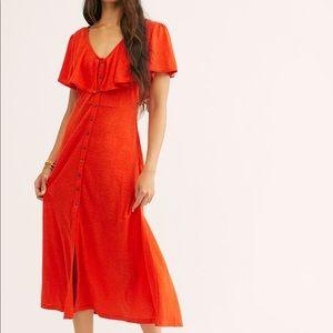 Free People Beach Orange Linen Blend Midi Dress L